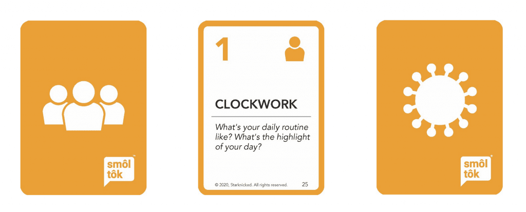 """3 examples of cards from the New Normal card deck in a row. Left card is the backside of a card with an illustration depicting three people standing in a row. Middle card shows frontside of a card, reading, """"Clockwork. What's your daily routine like? What's the highlight of your day?"""". Last card is the backside of a card with an illustration of the sun."""