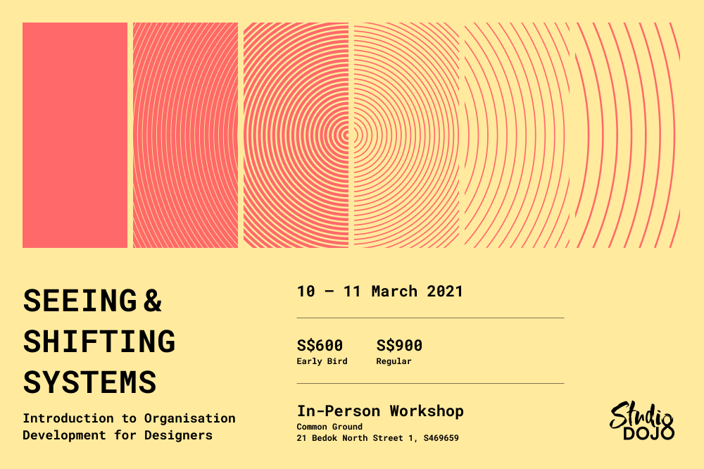 Poster for Seeing and Shifting Systems, an introductory workshop to organisation development by studio dojo